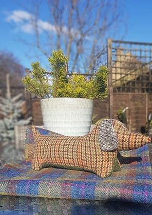 Stuffed plush dachshund. Beautiful sage green and tantweed