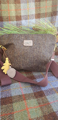 Hawkins traditional tweed green herringbone. Small cross body bag