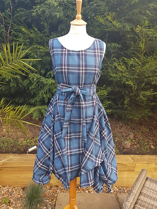 Handmade Alice dress from petrol blue and white tartan