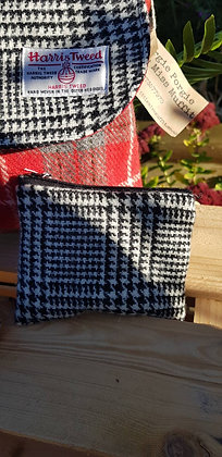 Handmade case made black and white Prince of Wales check Harris Tweed