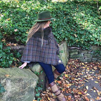 Handmade, one-off winter poncho made using Harris Tweed wool, cashmere collar