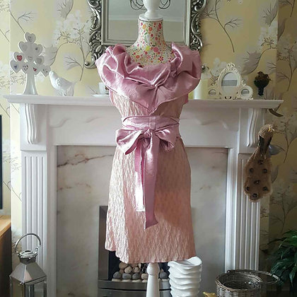Custard, cream and pink tunic style dress with a pink ruched collar and sash