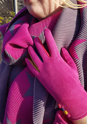 Supersoft pleated scarf in grey and cerise pink reversible star
