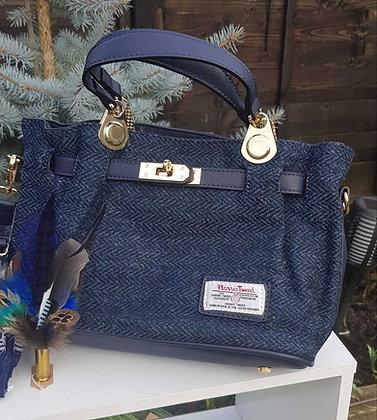 SnowPaw medium tote bag made from Harris Tweed, navy blue herringbone