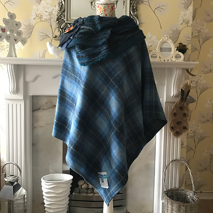One-off, handmade 100% wool poncho, made from Harris Tweed wool