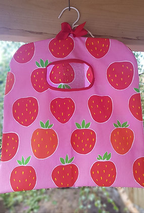 Handmade peg bag covered in delicious strawberries