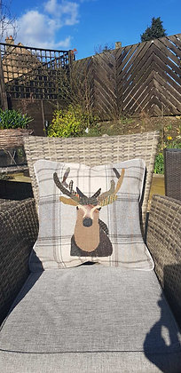 A one-off appliquéd stag on a 100% wool check cushion - Patch