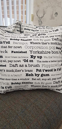 Handmade Yorkshire saying cushion