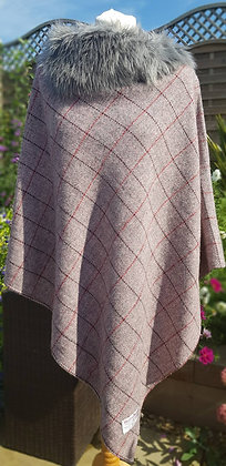 One-off handmade poncho made from pink and grey herringbone
