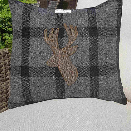 One-off handmade and appliqued cushion made from Harris Tweed