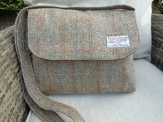 Handmade large messenger bag made from brown and tanherringbone