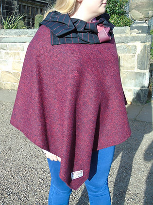 One-off handmade poncho made from red and navy herringbone Harris Tweed