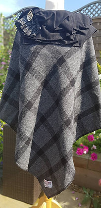 One-off handmade poncho made from grey and large black check Harris Tweed cloth