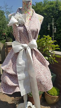 Limited edition light pink and cream paisley heavy damask wrap dress
