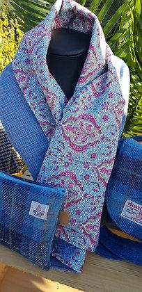 Handmade 100% wool scarf, bluey lilac and pink herringbone