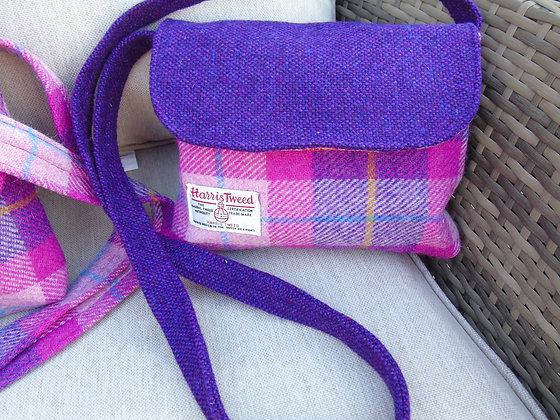 Handmade small messenger bag made from pink and purple check Harris Tweed