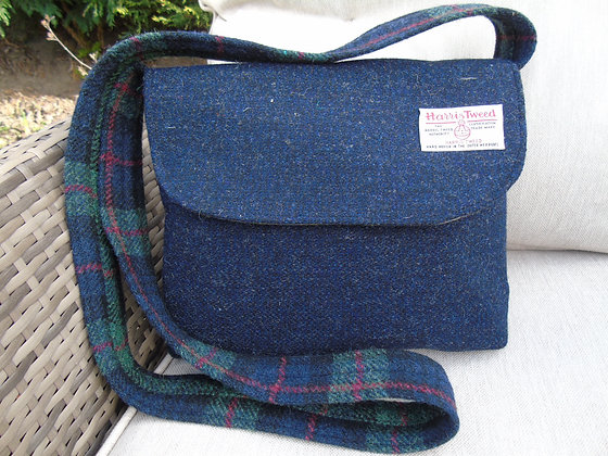 One-off handmade large messenger bag made from navy blue Harris Tweed