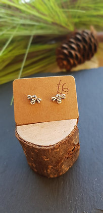 925 sterling silver mini bee studs earrings with sterling silver butterfly backs