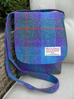 One-off handmade small messenger bag made from purple & grey check Harris Tweed