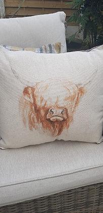 Handmade highland cattle cushion wiht a tweed back