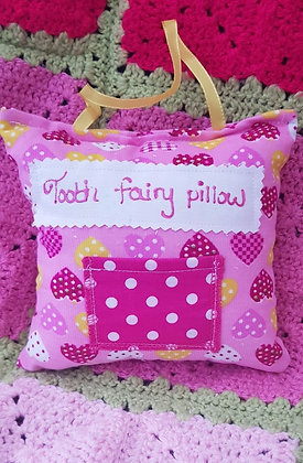 Handmade hearts tooth fairy pillow with a mini front pocket and coordinating han
