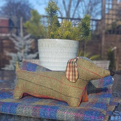 Stuffed plush dachshund. Beautiful moss green tweed