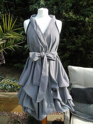 Handmade black and white dogtooth wrap dress