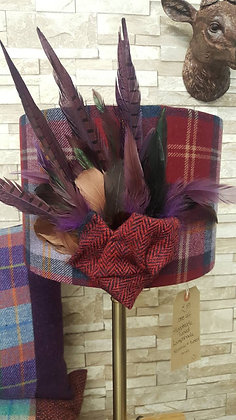 A beautiful one-off 30cm drum a maroon red tweed lampshade for a table lamp