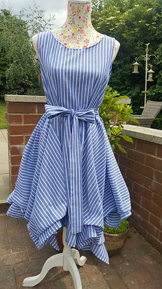 A cool crisp blue and white stripe Alice dress in a gorgeous lightweight fabric