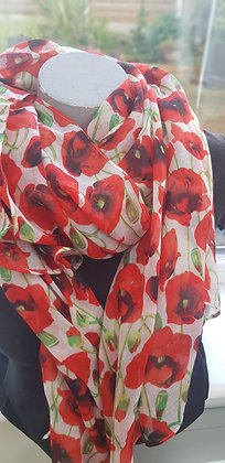 white scarf with poppies on green stems