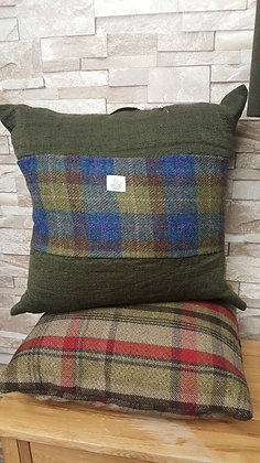 One off giant chunky wool cushion with a Harris tweed middle panel