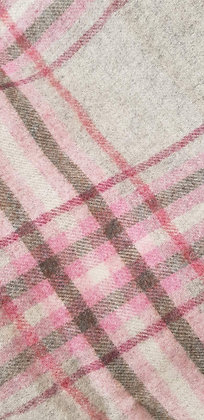 Pink and marl grey check wool super soft blanket