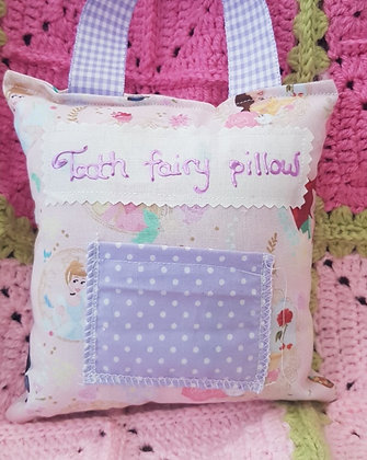 Handmade Disney princesses tooth fairy pillow with a mini front pocket