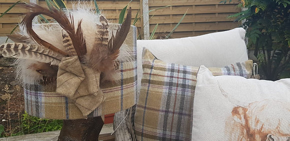 One-off handmade 30cm Yorkshire wool tweed drum with feathers
