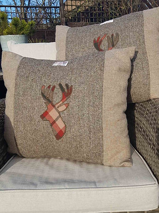 Extra Large Handmade oatmeal and fudge cushion made from Harris Tweed