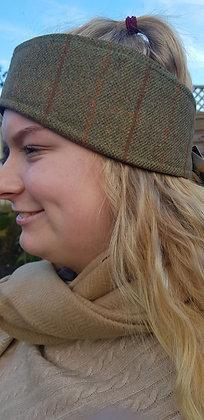 Hawkins tweed headband, brown fleeced lined