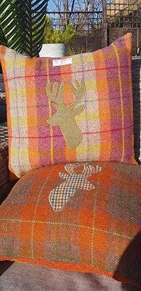 Handmade orange and OatmealHarris Tweed check cushion
