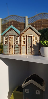 Stone and grey 2 beach huts plant pot