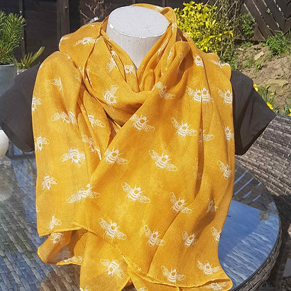 Lightweight fashion scarf, mustard with cream bee print