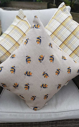 "Busy bee cushion with polyester inner. 18""x18"""