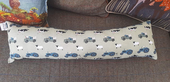 Handmade farmyard draught excluder made from Sophie Allport fabric