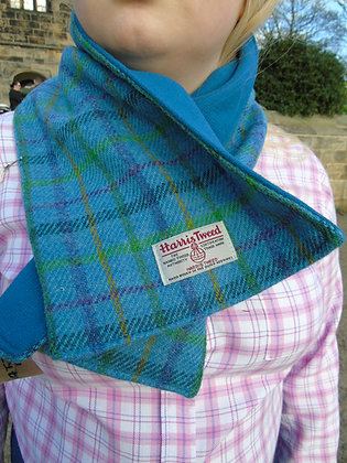 Handmade scarf made from aqua blue check Harris Tweed