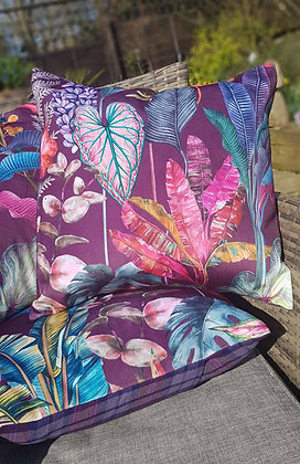 Handmade limited edition plush velvet botanical cushion, gorgeous purple