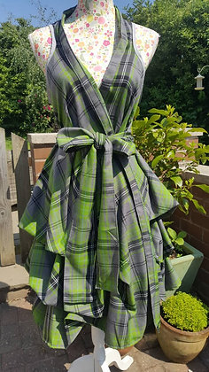 Lime green and slate grey tartan dress, wrapped and ruched