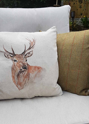 Handsome printed stag cushion with a tweed style back