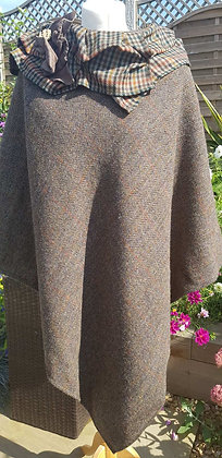 Hand-made, one-off winter poncho made using green and brown Harris Tweed wool