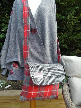 One off handmade ruffle cardigan - grey mottletweed