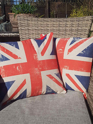 Handmade limited edition Union Jack cushions, aged look.