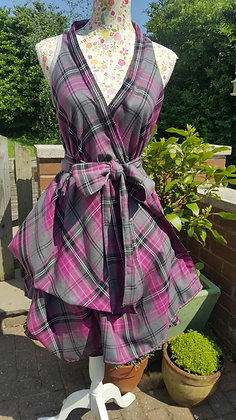 Pink and slate grey tartan dress, wrapped and ruched