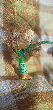 One-off feather brooch withnatural, greenand peacockfeathers